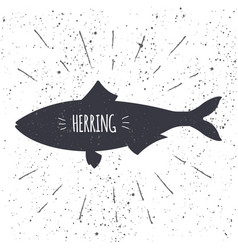 hand drawn herring icon fish in black and white vector image vector image