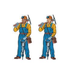 african and caucasian miners with jackhammer vector image