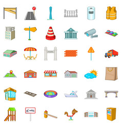 Beautiful city icons set cartoon style vector