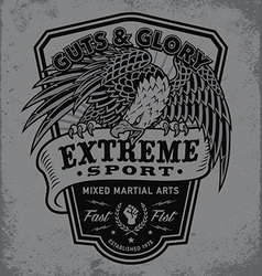Extreme sport eagle crest shield t-shirt graphic vector image vector image