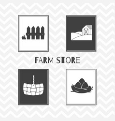 hand drawn silhouettes farm market posters vector image vector image