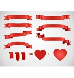 Vintage love theme ribbon set vector image