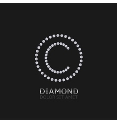 C letter with diamonds vector