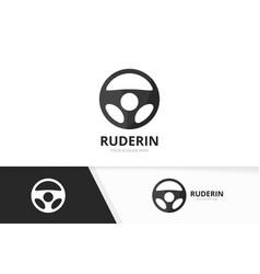 car helm logo combination steering wheel vector image