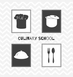 Hand drawn silhouettes restaurant posters vector