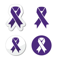 Indigo ribbon - bullying stalking awareness vector image