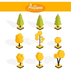 Isometric Autumn trees set vector image