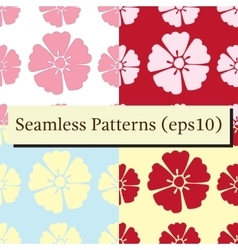 Cherry blossom flowers seamless patterns set vector image
