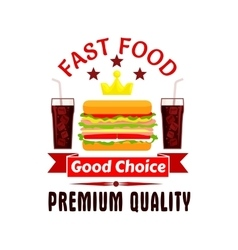 Fast food cheeseburger and soda coke icon vector image vector image
