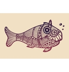 Fish with headphones vector image vector image