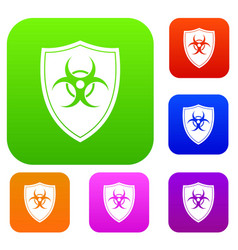 Shield with a biohazard sign set collection vector