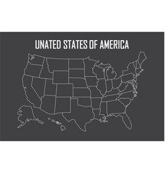 Usa linear map with state boundaries blank white vector