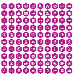 100 contact us icons hexagon violet vector