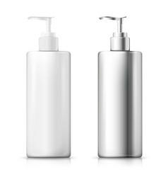 3d realistic white and aluminum pump bottle vector