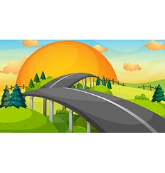 A long road with a sunset vector image