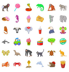 animal zoo icons set cartoon style vector image
