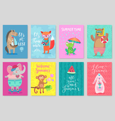 animals card set hand drawn style summer theme vector image