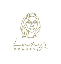 artistic beauty woman logo design with line art vector image