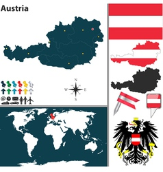 Austria map world vector image