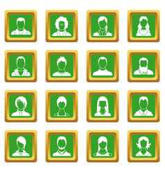 Avatars set icons set green vector