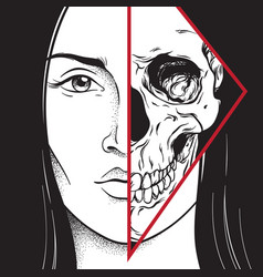 Beautiful brunette with half skull face hand drawn vector