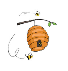 Bees flying in hive hanging on tree branch vector
