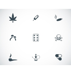 Black drugs icons set vector