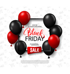 black friday sale background with balloons modern vector image
