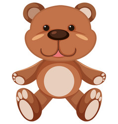 Brown teddy bear on white background vector