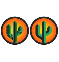 cactus logo round shape sun background creative vector image
