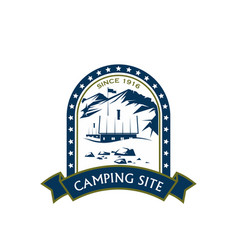 Camping site sport mountain hiking icon vector