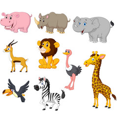 Cartoon wild animals collection set vector