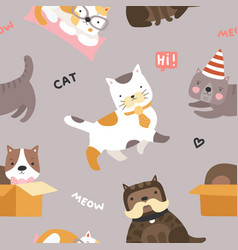 cat pattern cute kittens funny playful pets vector image