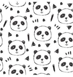 Childish seamless pattern with hand drawn pandas vector
