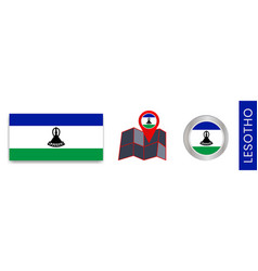 Collection insulated lesotho flags in official vector