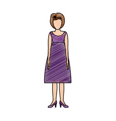 color pencil drawing of woman with purple dress vector image