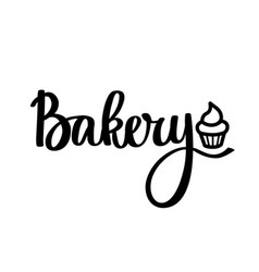 cupcake bakery calligraphy design vector image