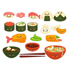 cute asian dishes with faces set on white vector image