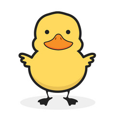 cute yellow duck icon vector image
