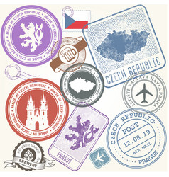 czech travel stamps set - prague journey symbols vector image