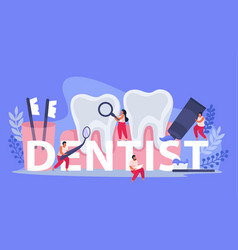 dental text flat composition vector image