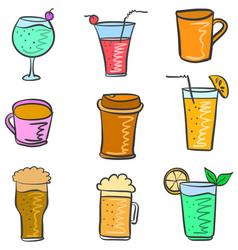 Drink various doodle set vector