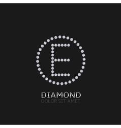 E letter with diamonds vector image
