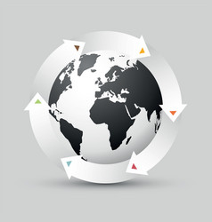 earth globe with colored arrows vector image