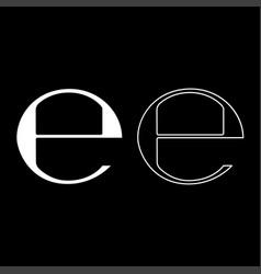 Estimated sign e mark symbol e icon set white vector
