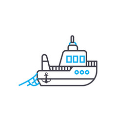 fishing vessel thin line stroke icon vector image