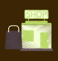 Flat icon in shading style shop package vector