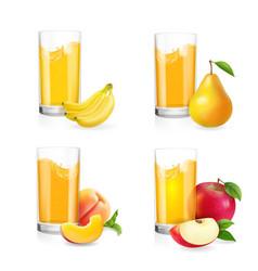 Fruit juice in glass set vector
