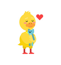 funny little yellow duckling playing with blue vector image