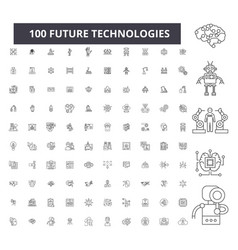future technologies editable line icons 100 vector image